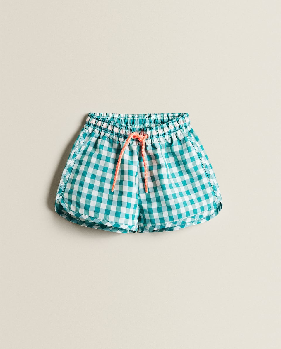 KIDS' GINGHAM SWIMMING TRUNKS
