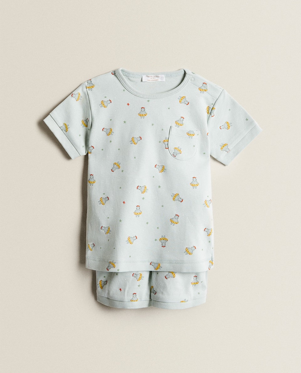 HIPPO PRINT COTTON PYJAMAS