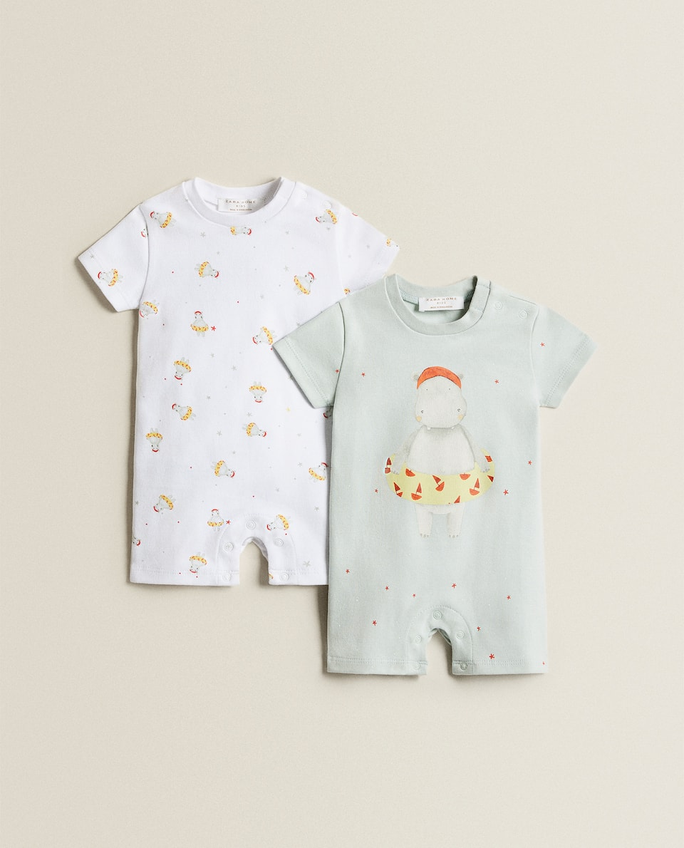 HIPPO PRINT ROMPER SUIT (SET OF 2)