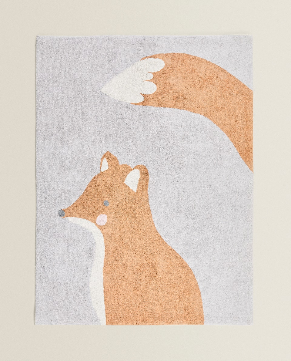 COTTON RUG WITH FOX