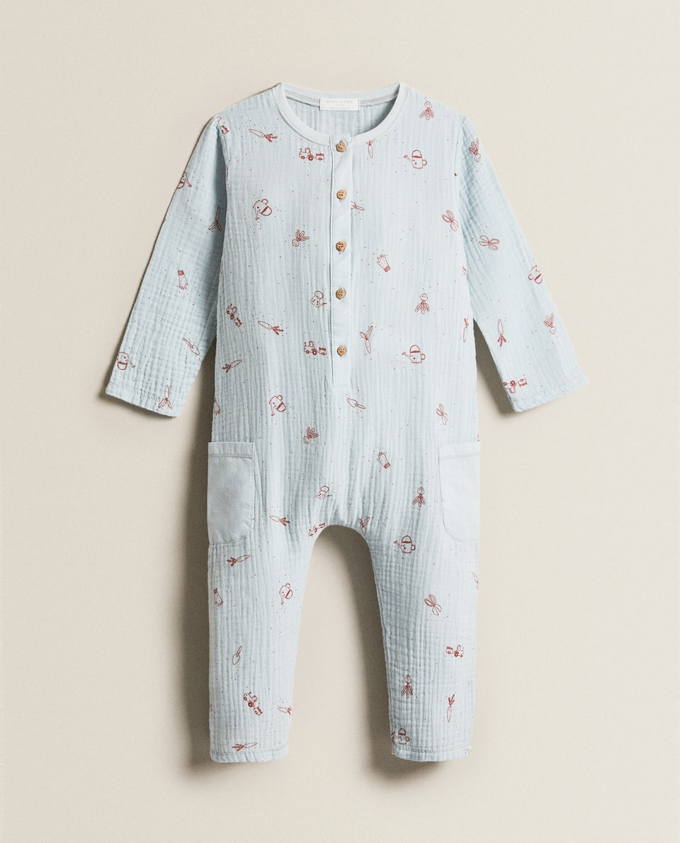 PRINTED GAUZE OVERALLS