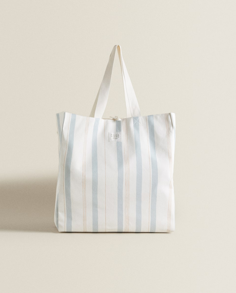 TWO-TONE STRIPED TOTE BAG