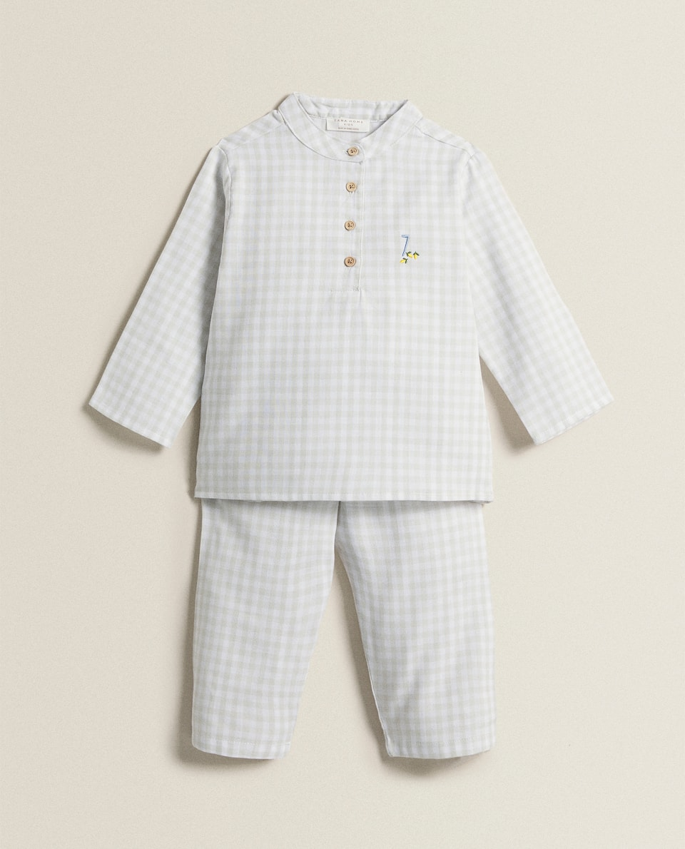 GINGHAM PYJAMAS WITH EMBROIDERY