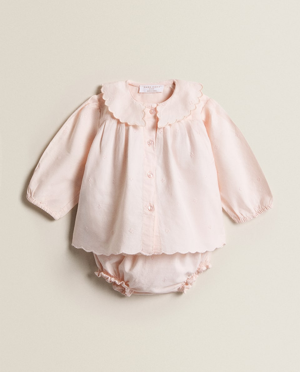 EMBROIDERED COTTON BABY SET