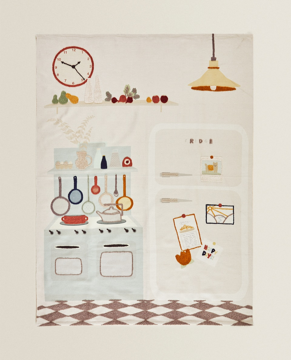 KIDS' RUG WITH VINTAGE KITCHEN MOTIFS