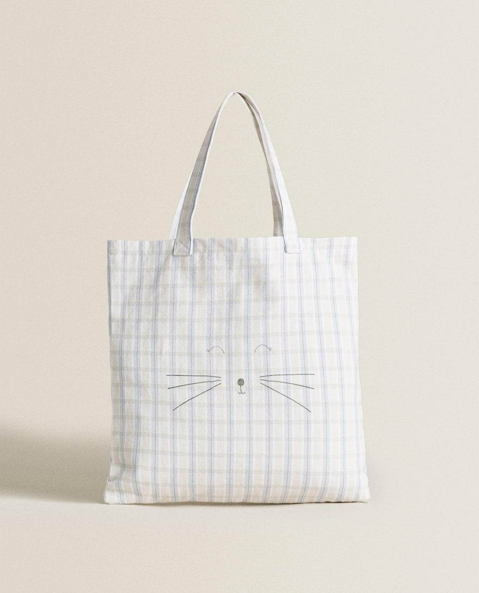 حقيبة توت مزينة بطبعة قطة
