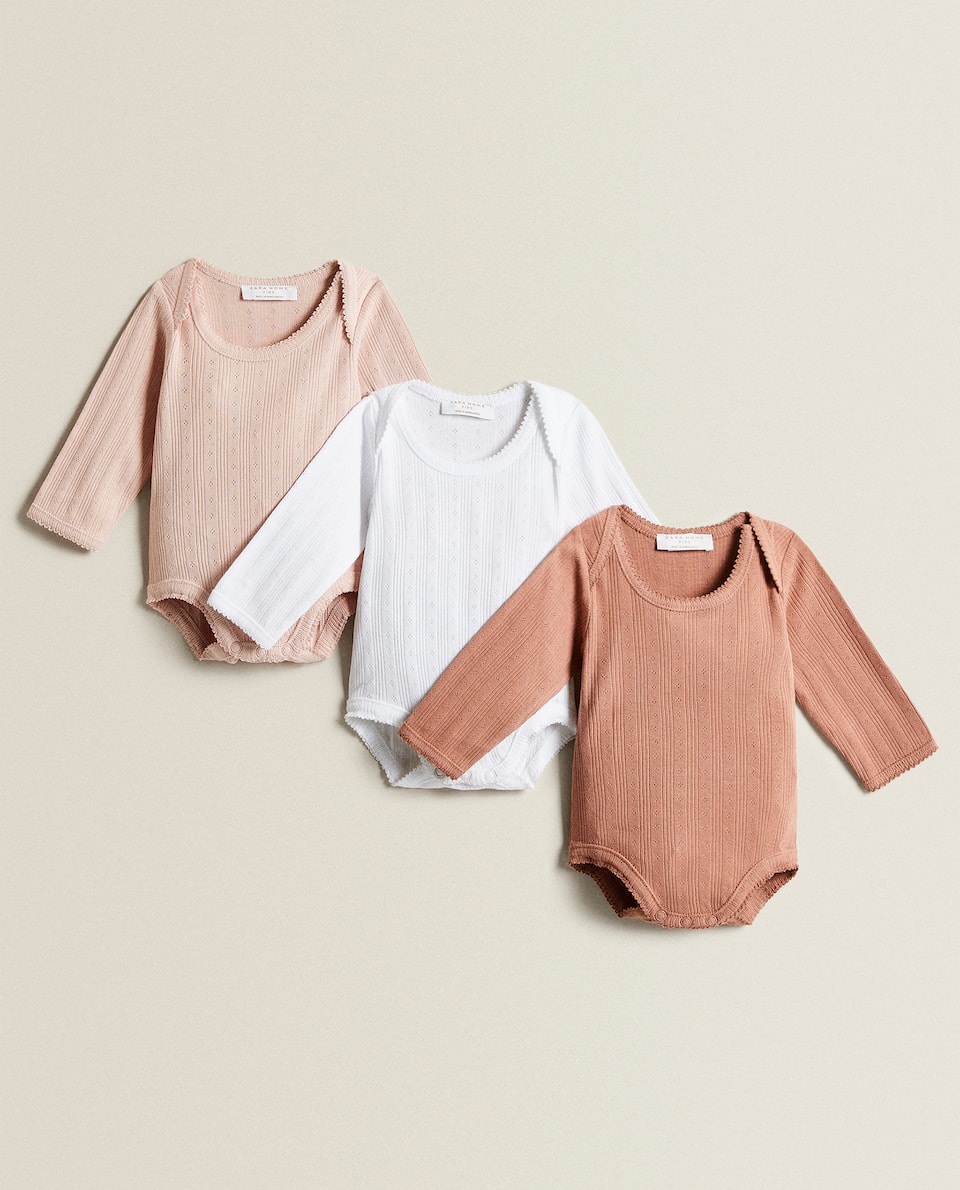 OPEN-KNIT BODYSUIT (SET OF 3)