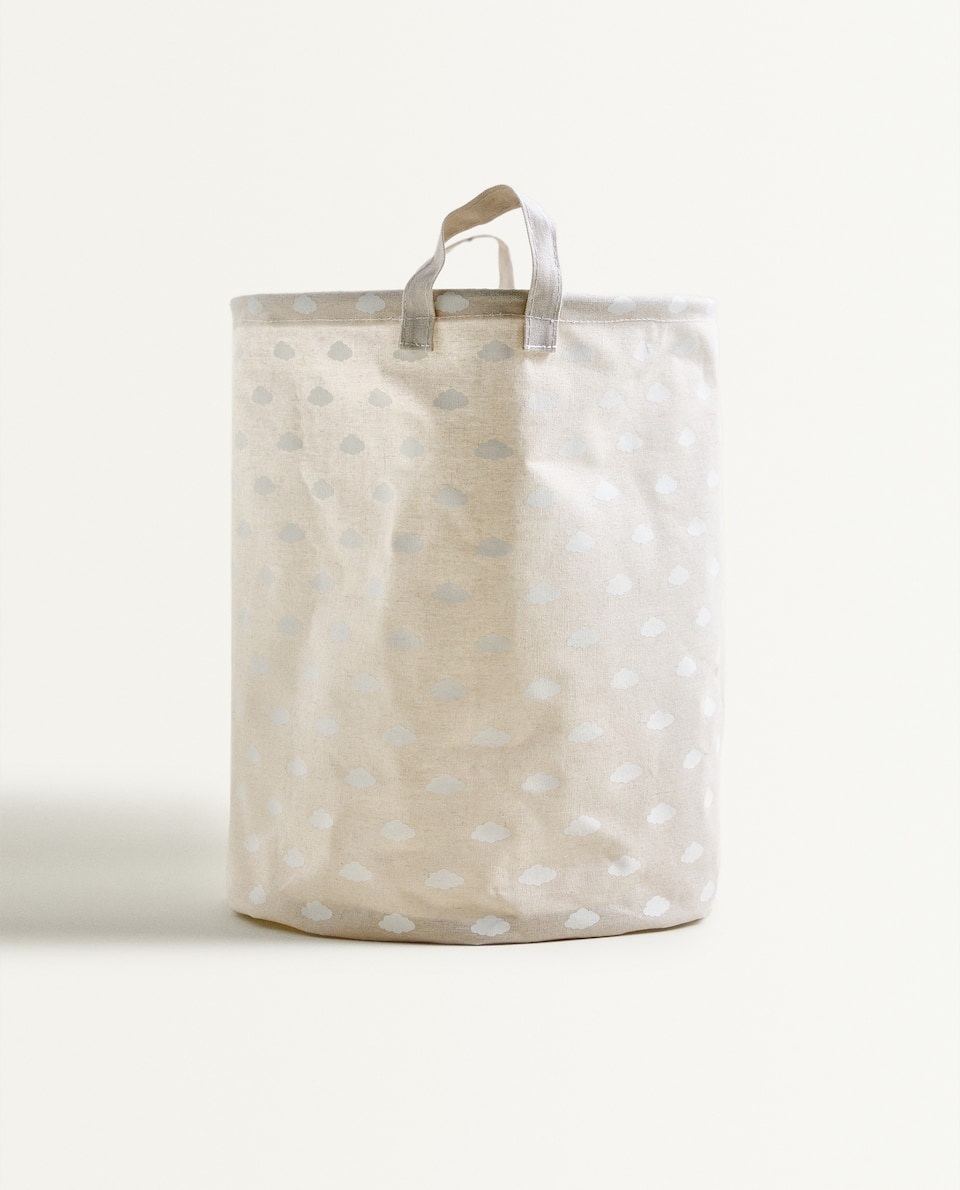 COTTON CANVAS BASKET WITH A CLOUD DESIGN