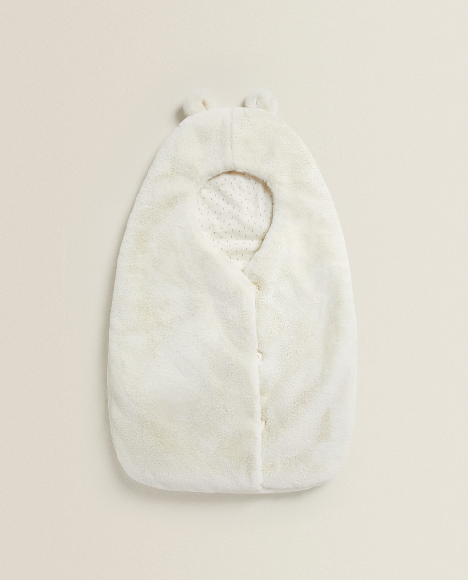 FAUX FUR CARRYCOT BABY WRAP WITH LITTLE EARS