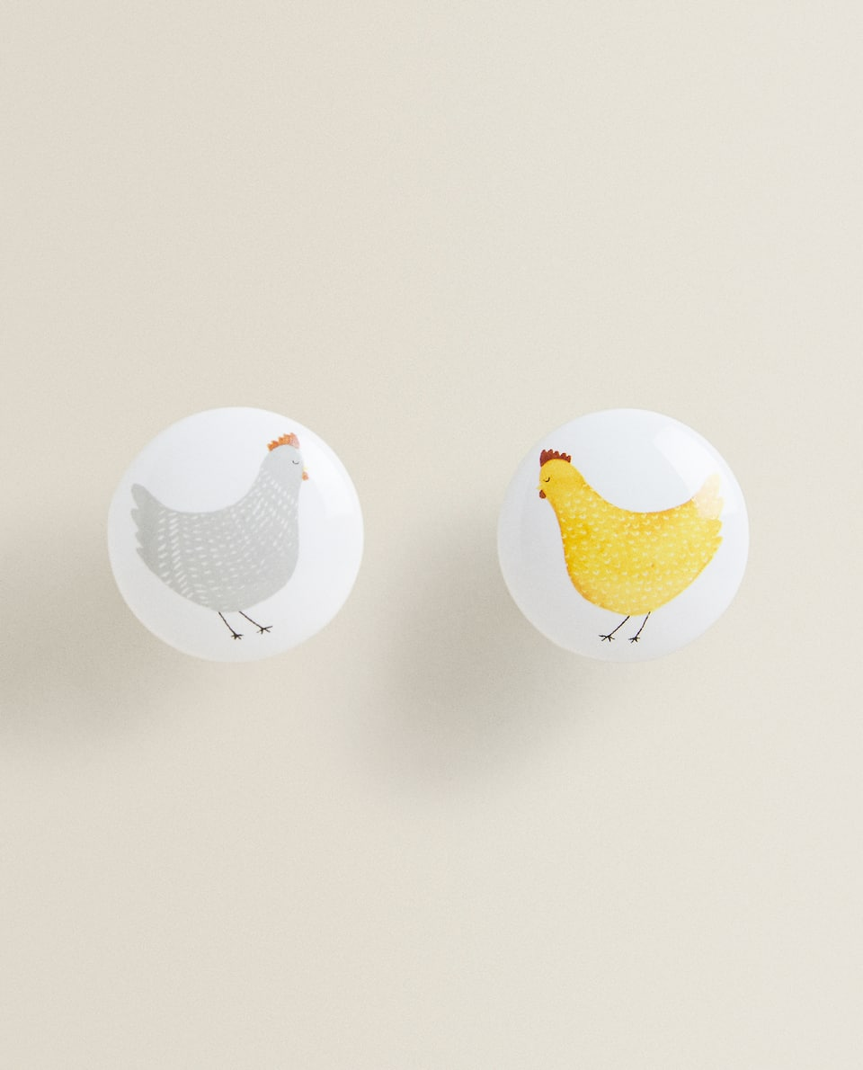 HEN DOOR KNOBS (SET OF 2)