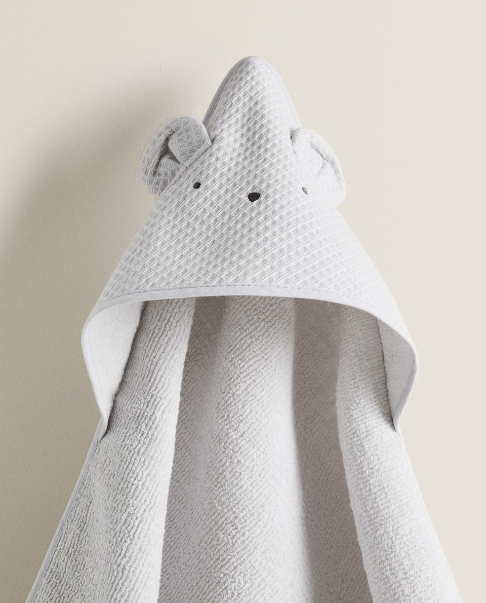 COTTON HOODED TOWEL WITH LITTLE EARS