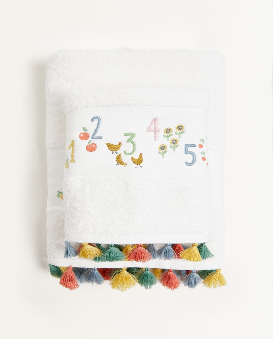 EMBROIDERED NUMBER TOWEL