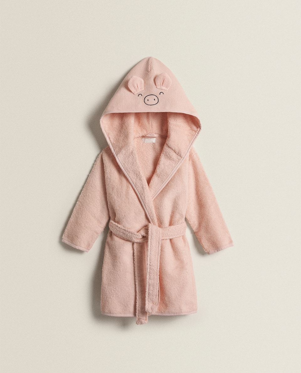 PIG HOODED BATHROBE