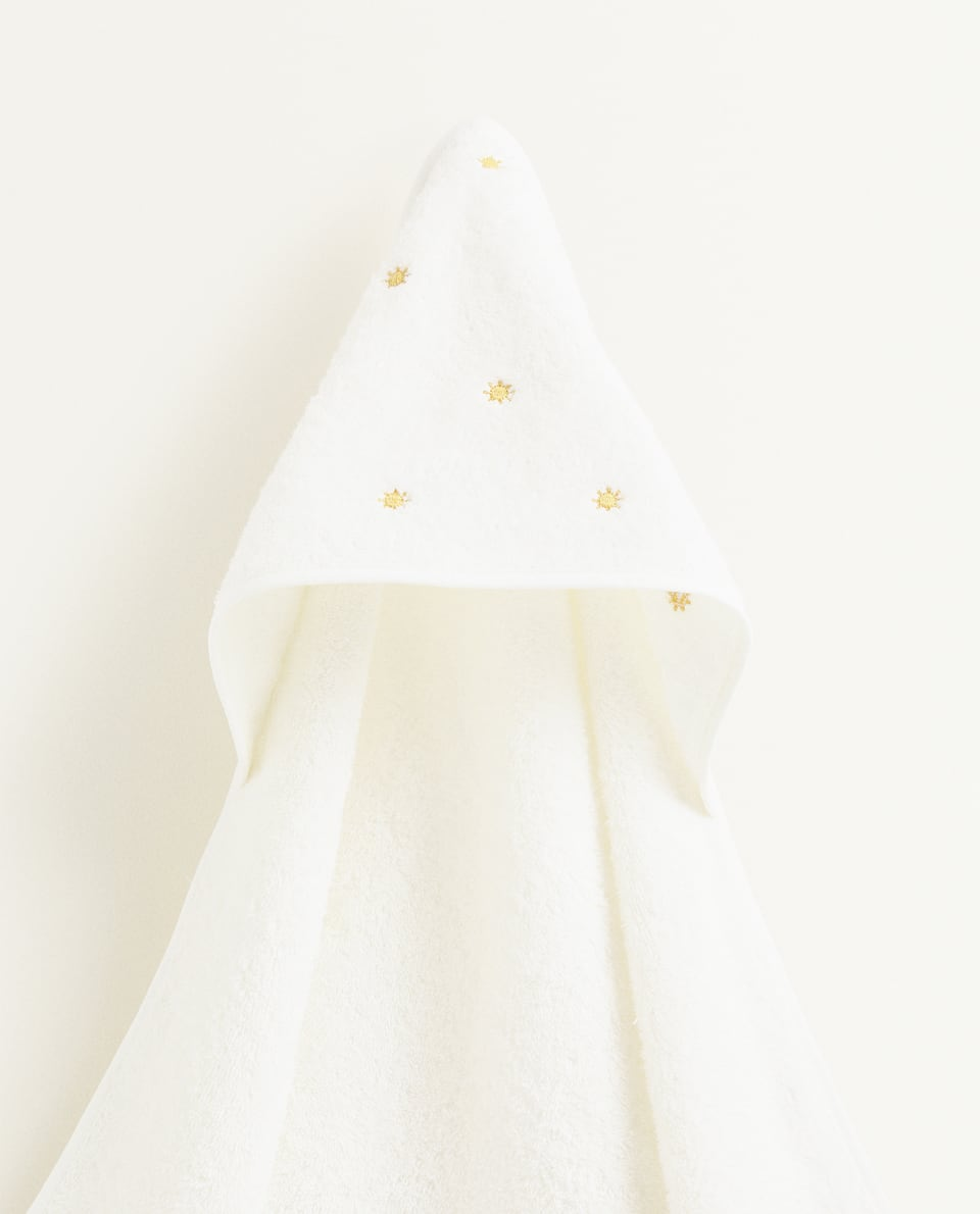 COTTON HOODED TOWEL WITH POMPOMS