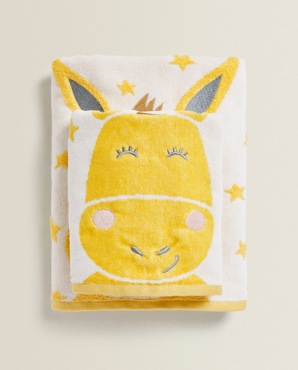STAR TOWEL WITH EMBROIDERED DONKEY