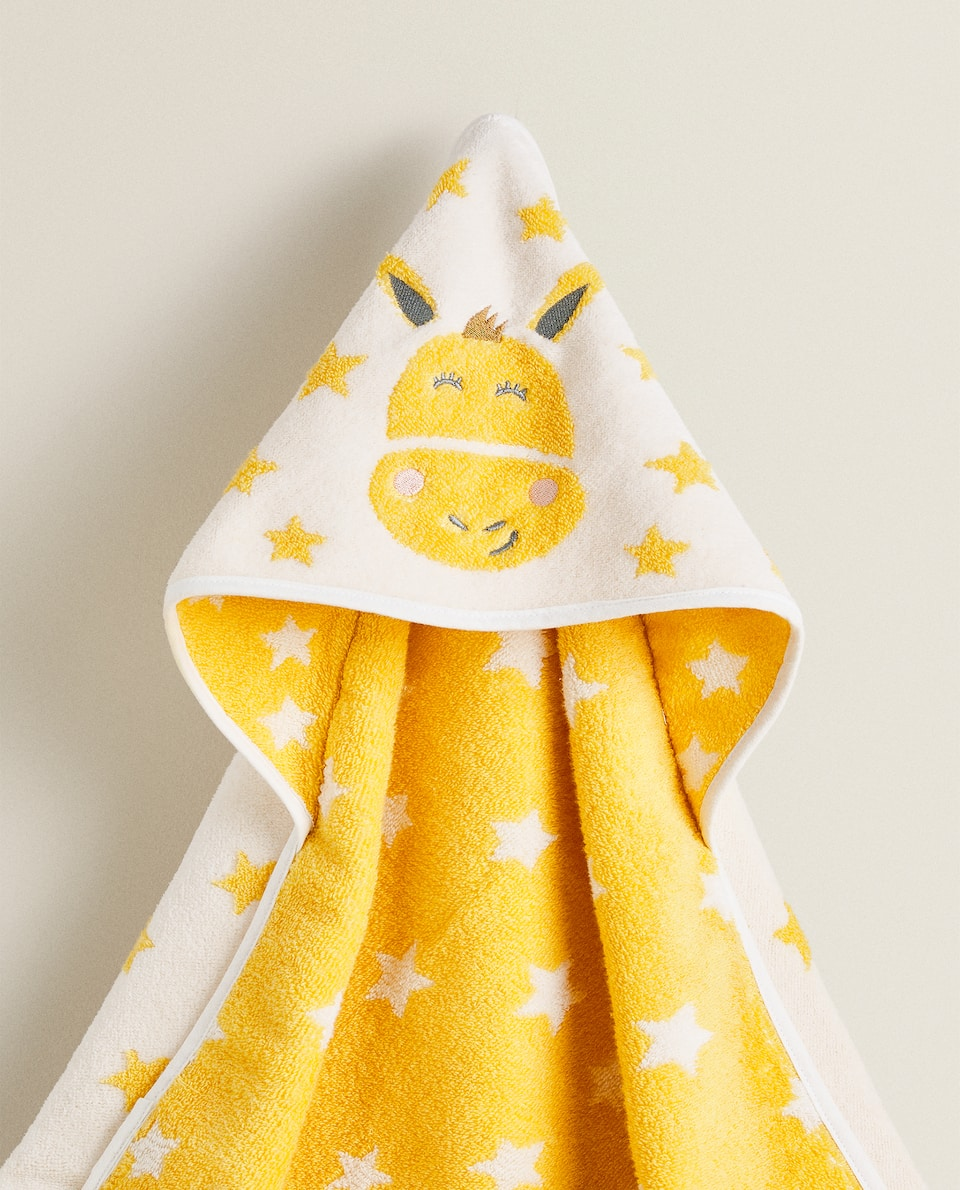 STAR HOODED TOWEL WITH EMBROIDERED DONKEY