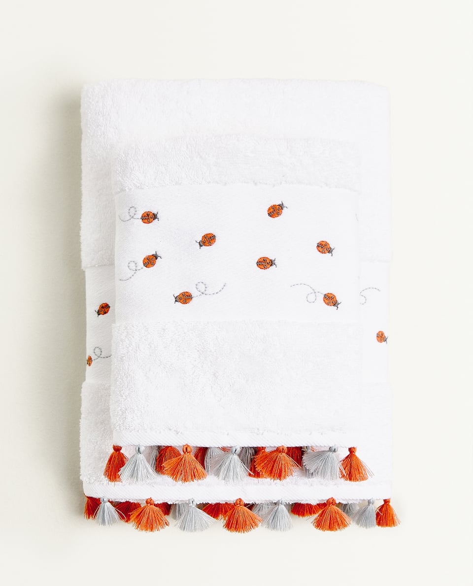 EMBROIDERED LADYBIRD TOWEL