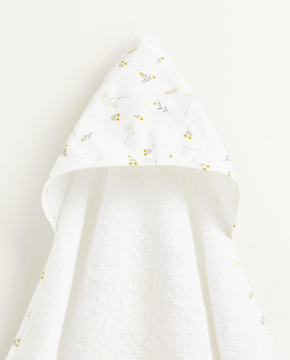 LEAF PRINT HOODED TOWEL