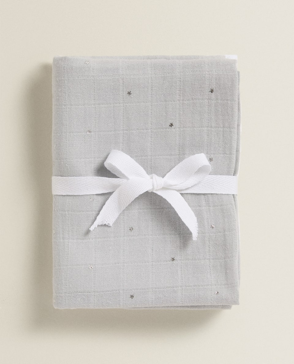 CONTRAST MUSLIN CLOTHS (PACK OF 2)