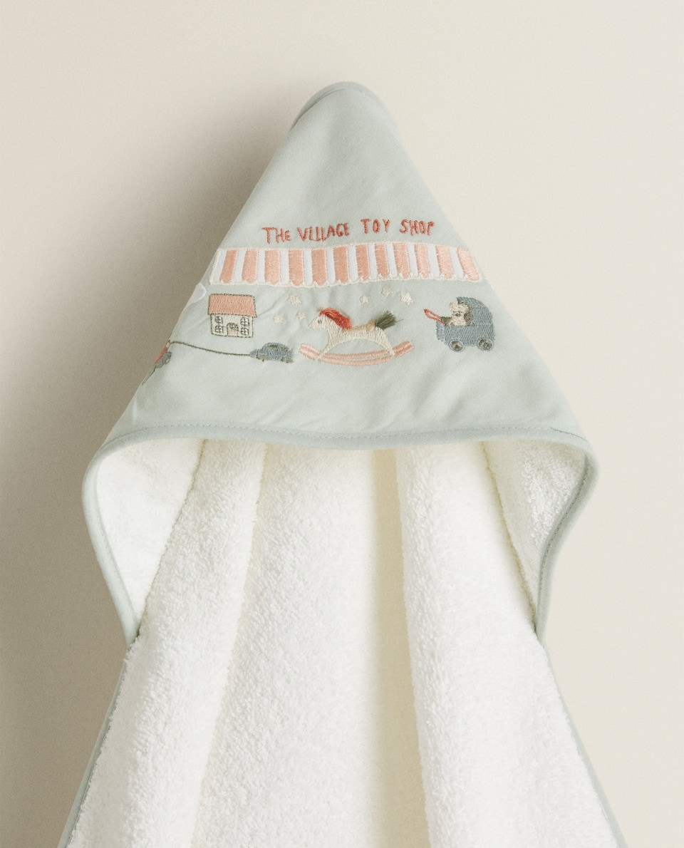 TOY PRINT HOODED TOWEL