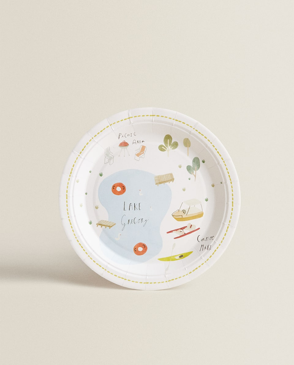 LAKE PRINT PAPER DESSERT PLATE (PACK OF 12)
