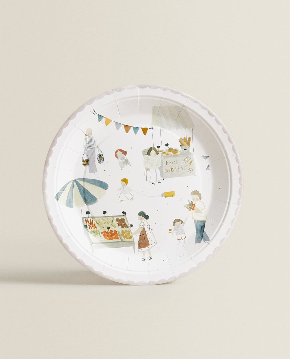 MARKET PRINT PAPER DINNER PLATE (PACK OF 12)