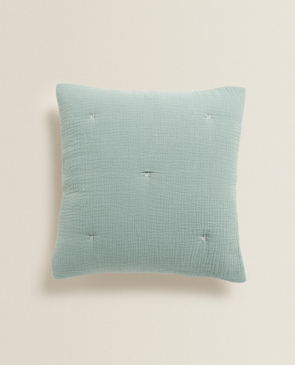 CHIFFON AND COTTON JERSEY CUSHION COVER