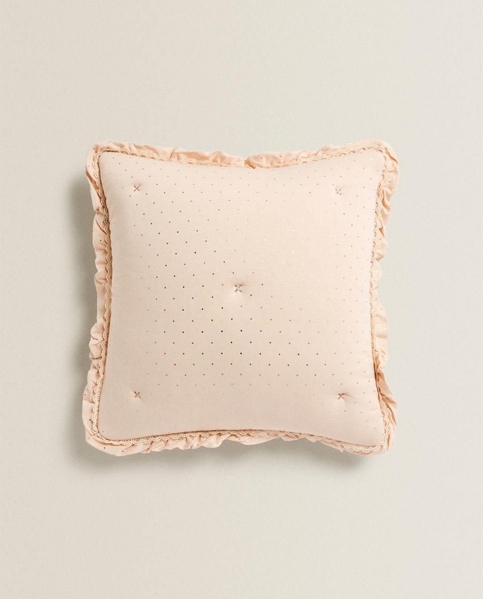 POLKA DOT AND RUFFLE CUSHION COVER