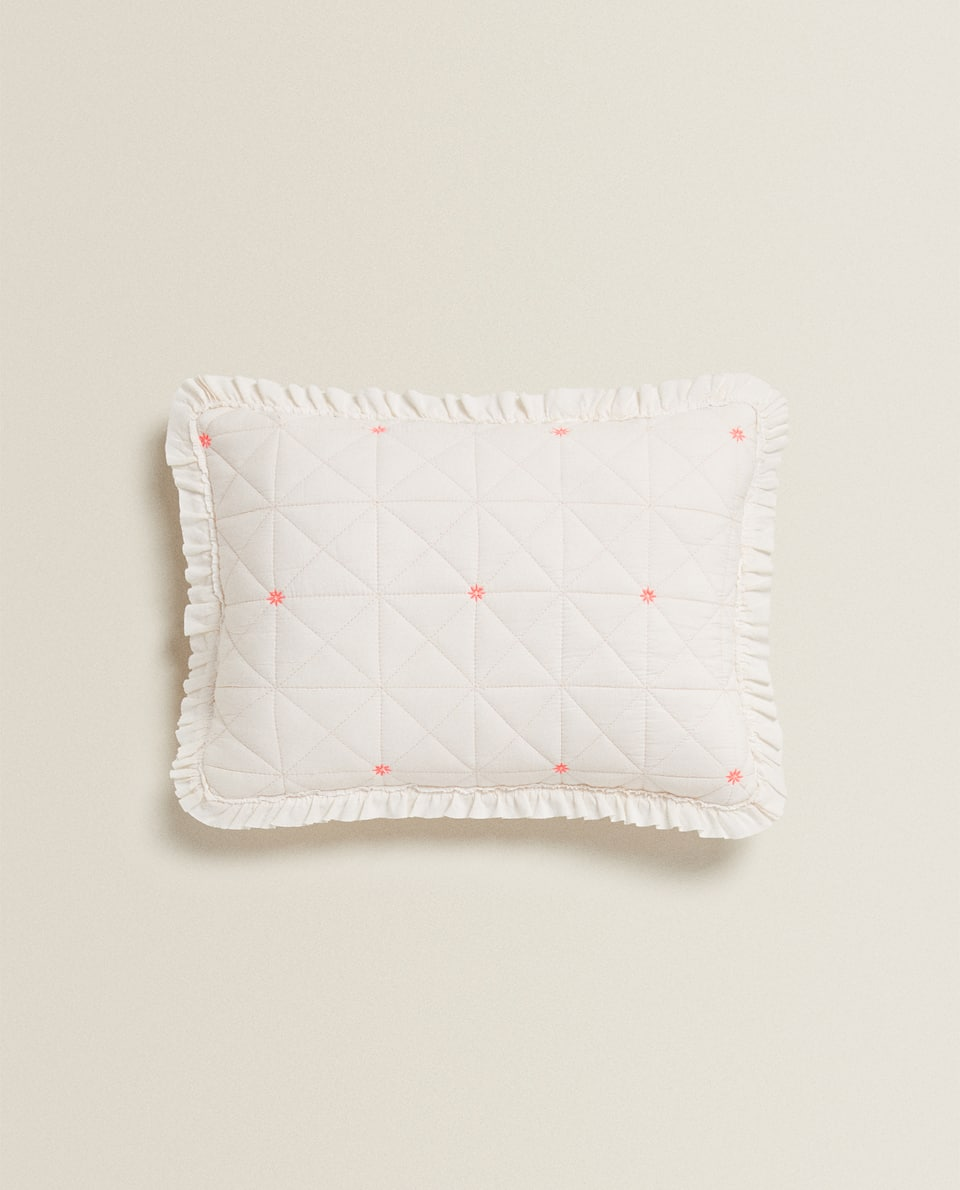 COTTON JERSEY CUSHION COVER WITH RUFFLES