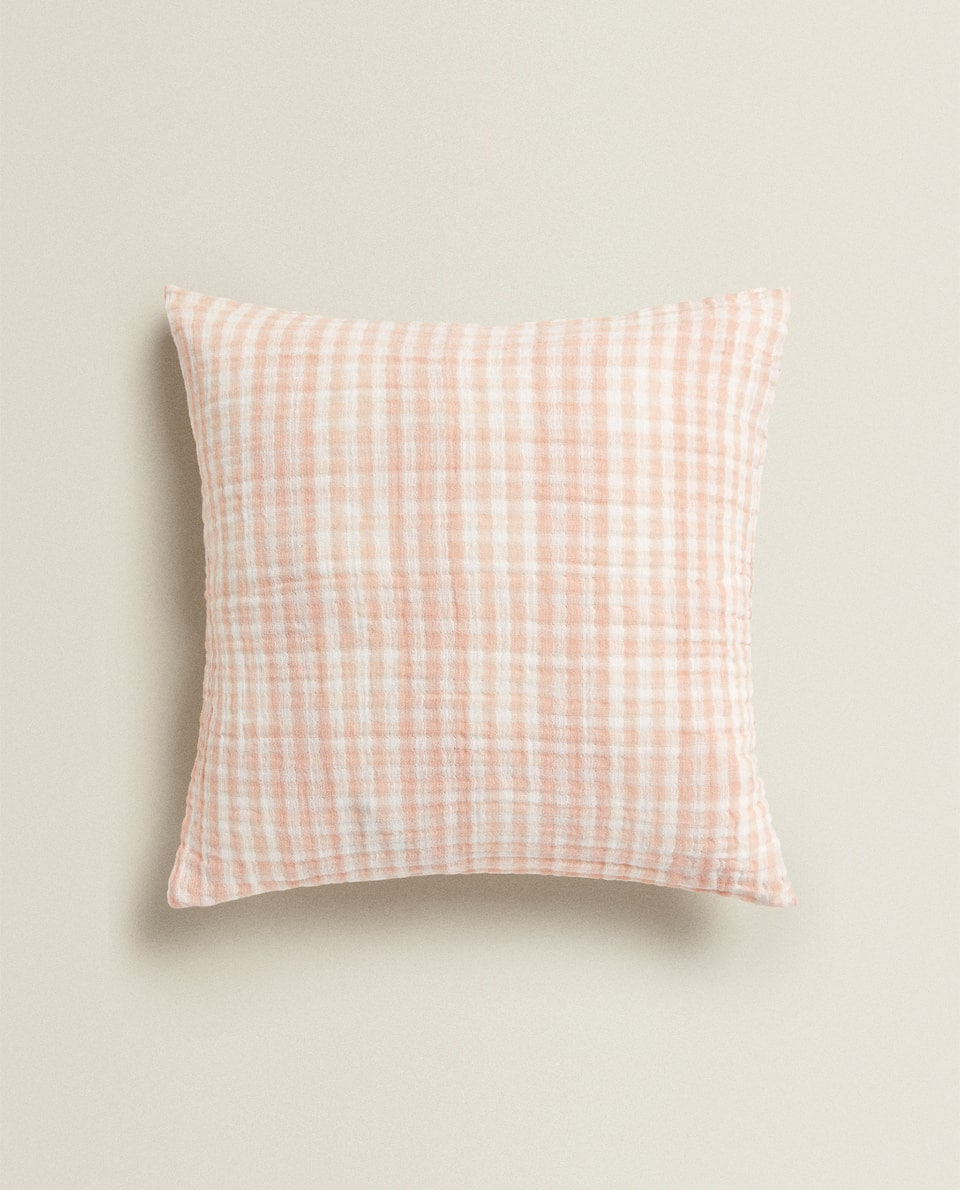 GINGHAM CHECK CUSHION COVER