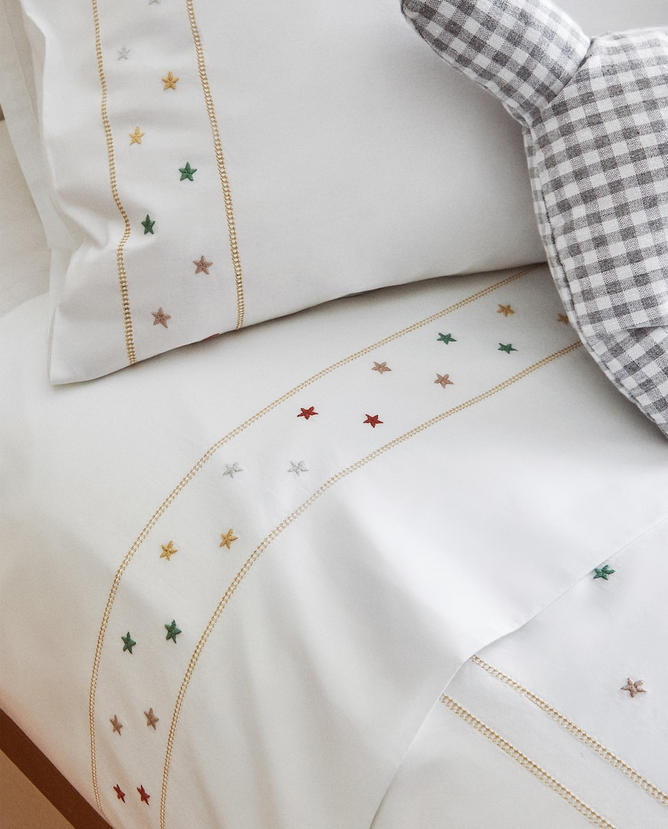 DUVET COVER WITH MULTICOLOURED EMBROIDERED STARS