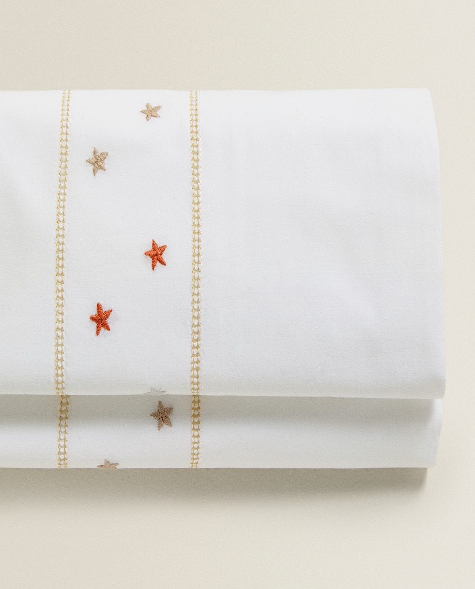 FLAT SHEET WITH MULTICOLOURED EMBROIDERED STARS