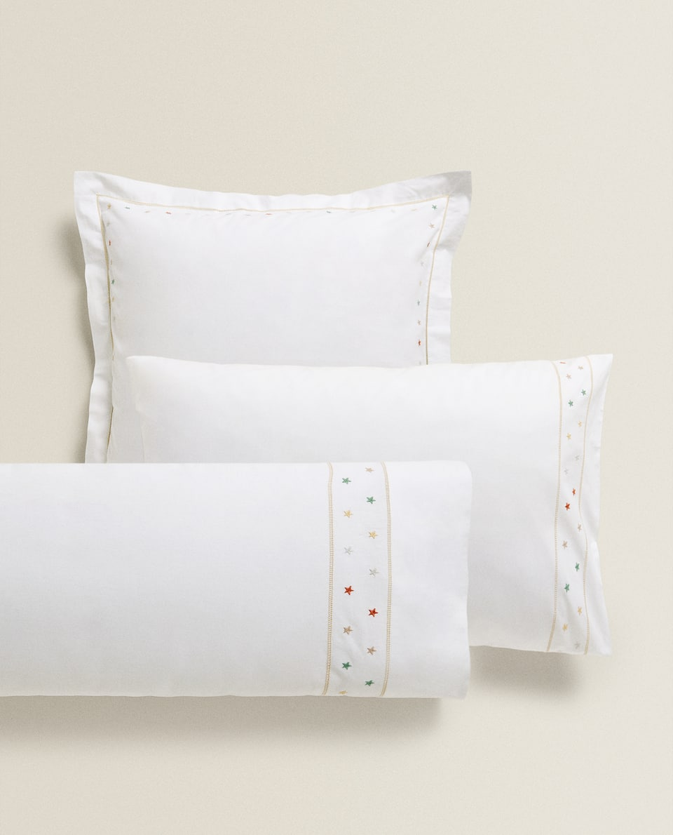 PILLOWCASE WITH MULTICOLOURED EMBROIDERED STARS