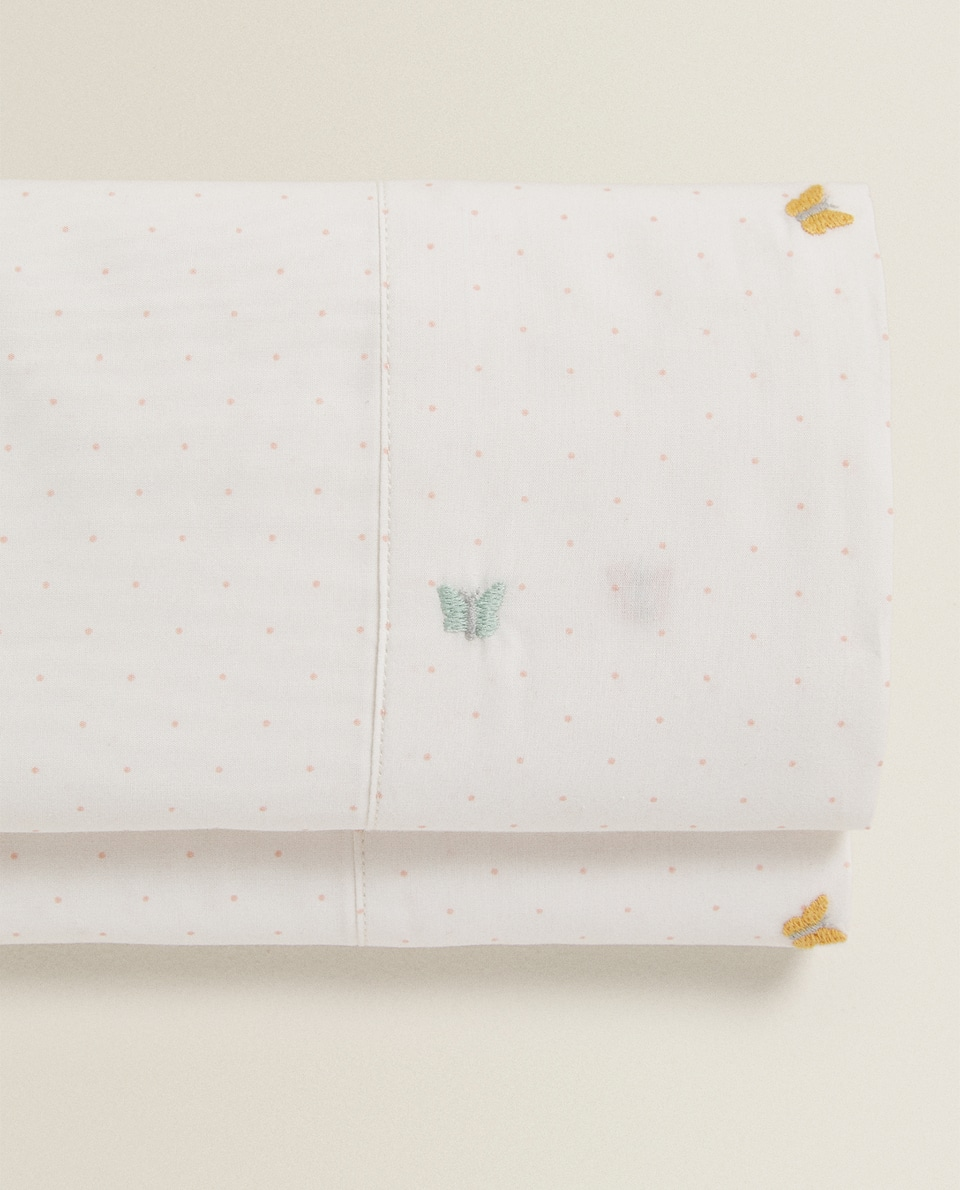 FLAT SHEET WITH BUTTERFLY EMBROIDERY