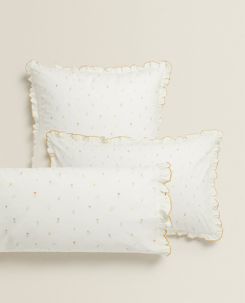 RUFFLED FLORAL PILLOWCASE