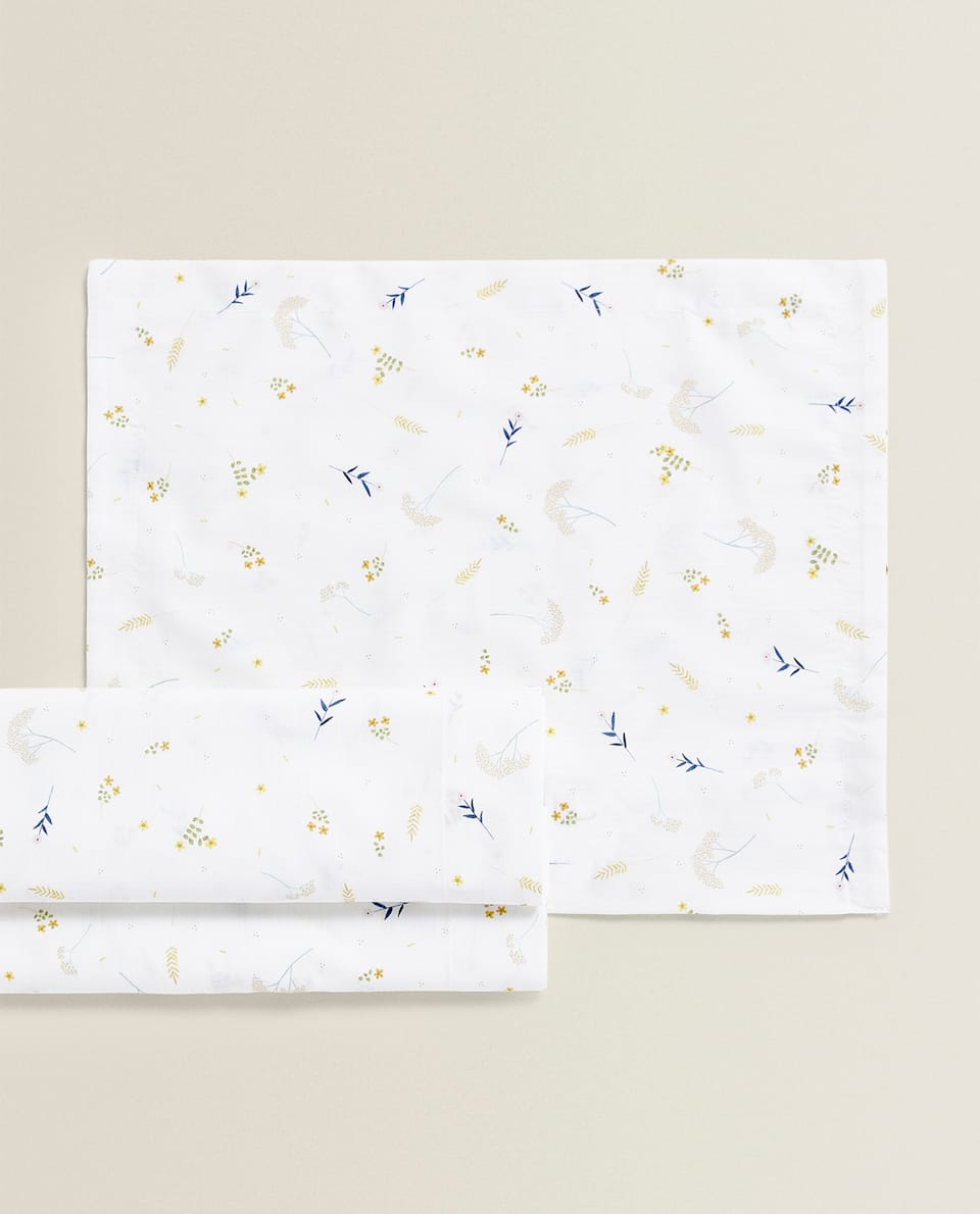 FLORAL MINI COT AND MOSES BASKET SHEET SET
