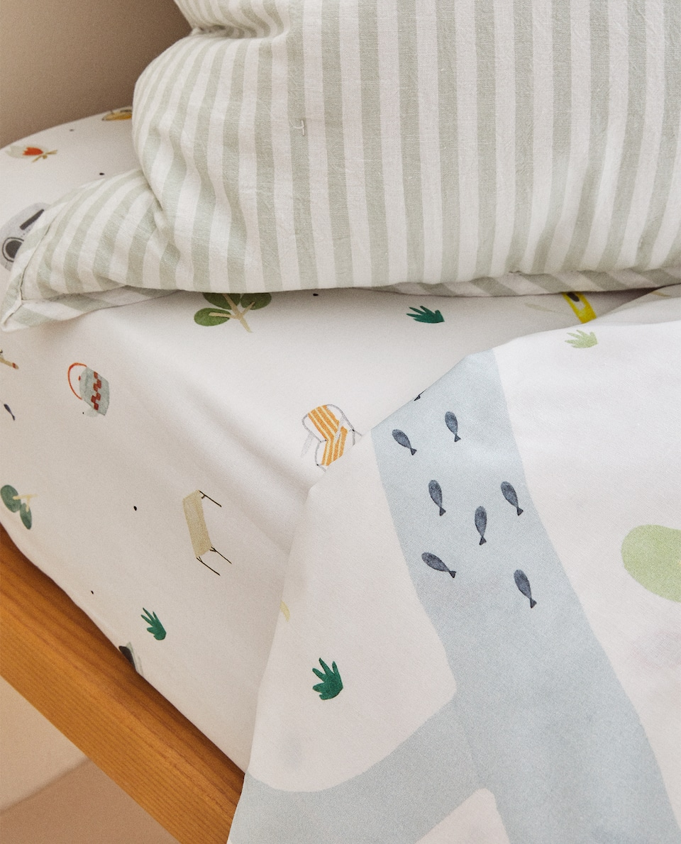 REVERSIBLE LAKE PRINT DUVET COVER