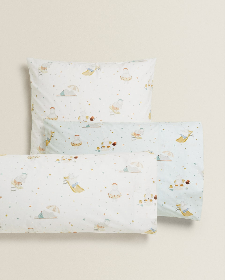 HIPPOPOTAMUS PRINT PILLOWCASE