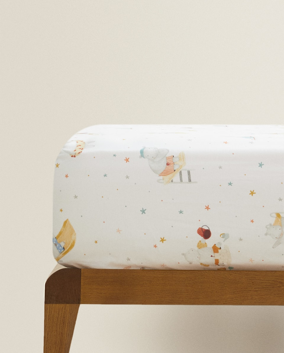 HIPPOPOTAMUS PRINT FITTED SHEET