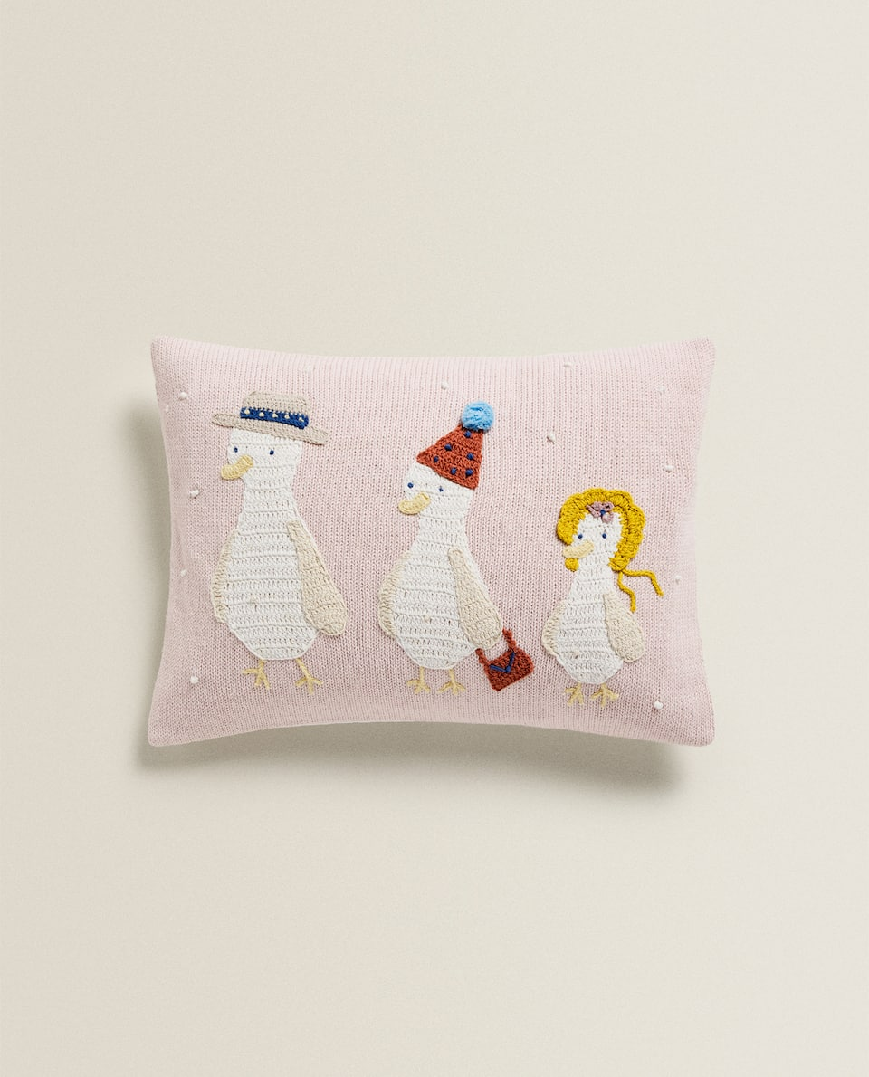 EMBROIDERED DUCK CUSHION COVER