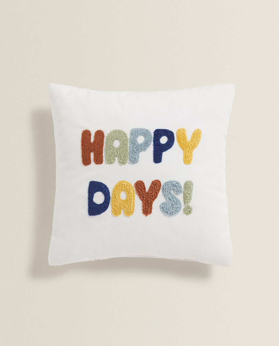 EMBROIDERED HAPPY DAYS CUSHION