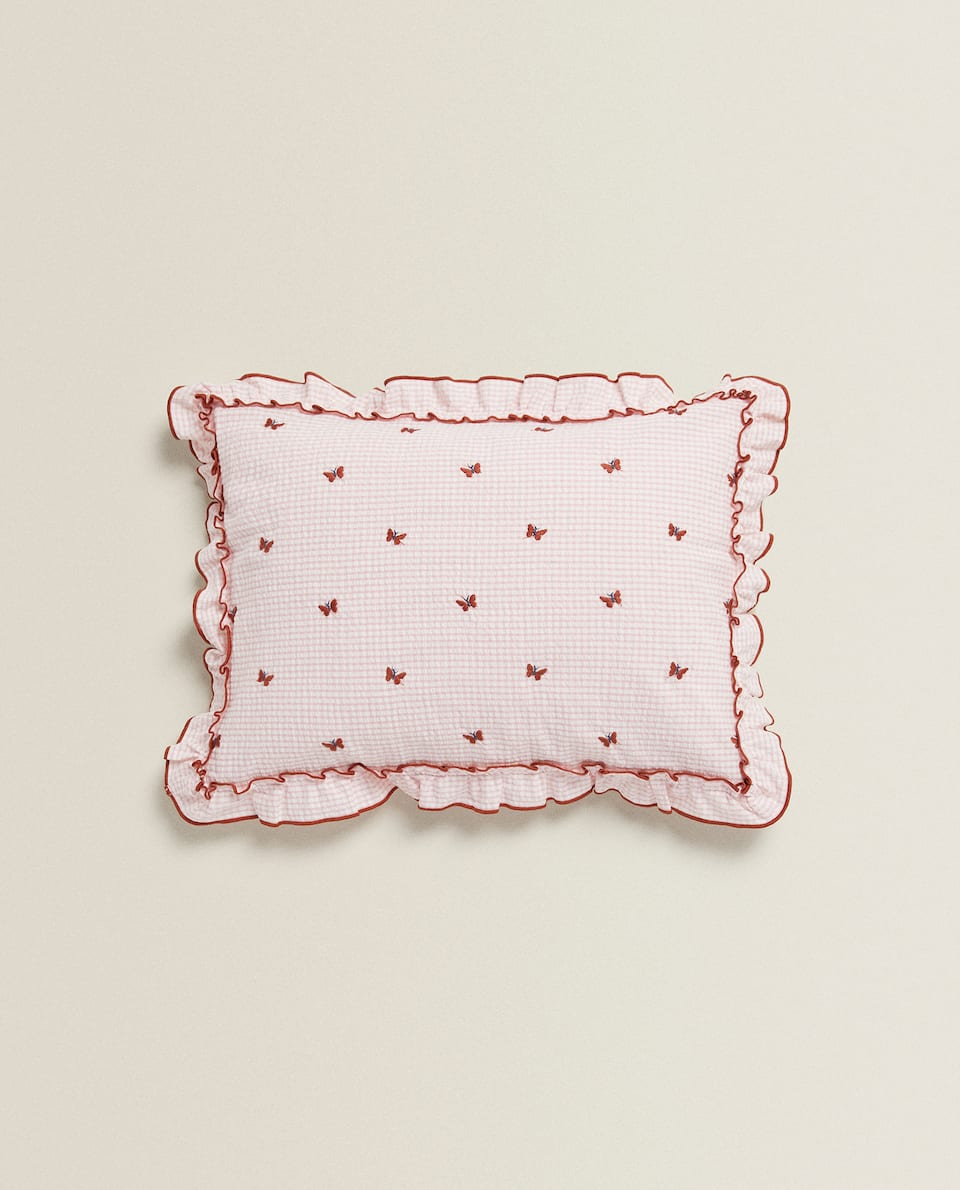 EMBROIDERED BUTTERFLIES CUSHION COVER