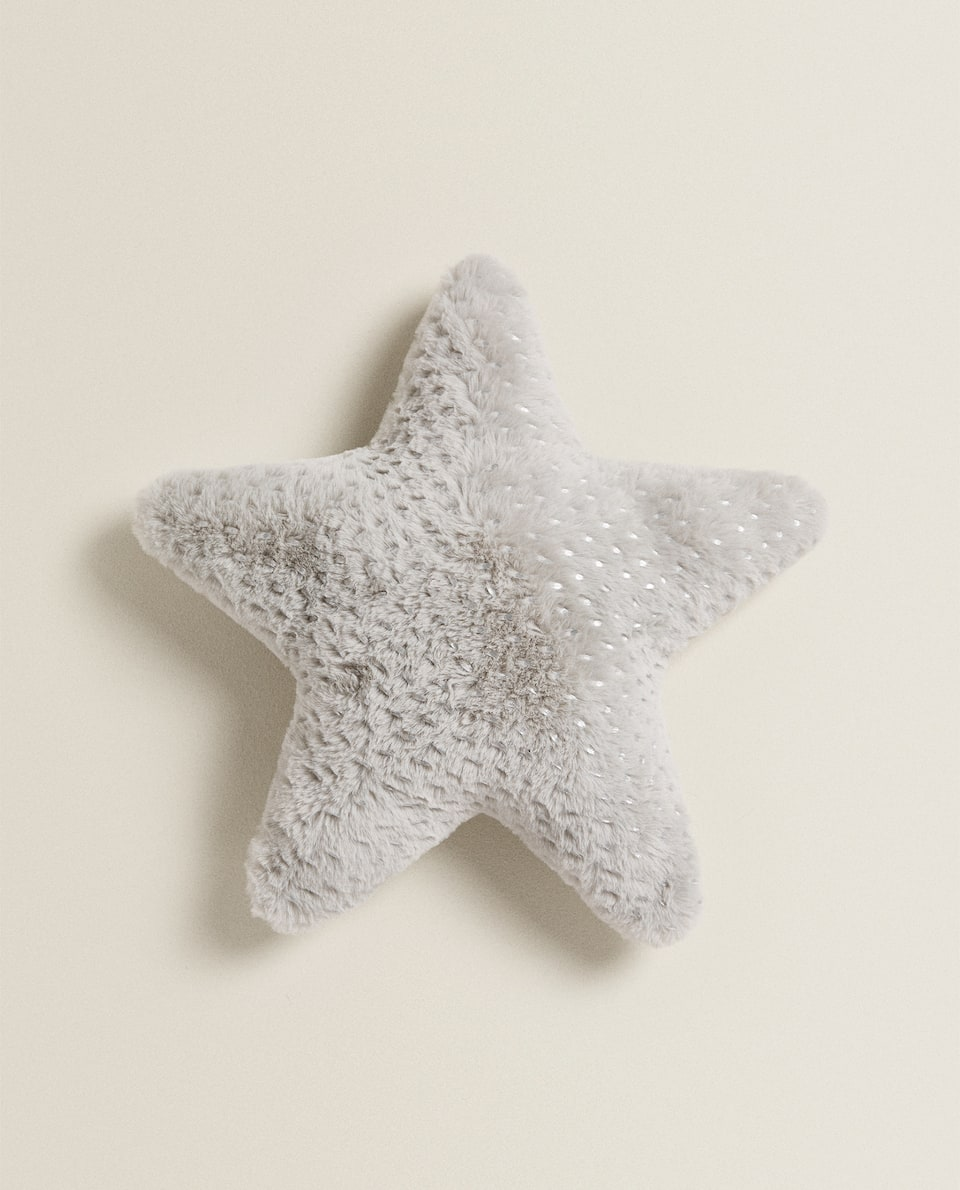 FAUX FUR STAR-SHAPED CUSHION