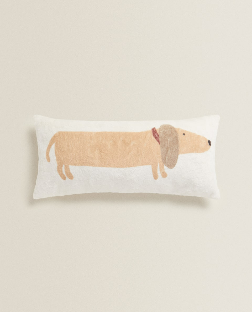 FAUX FUR SAUSAGE DOG CUSHION COVER