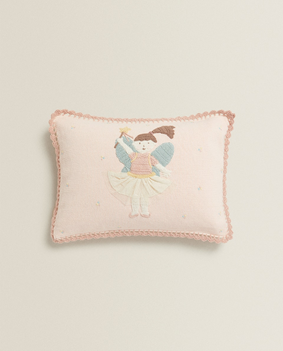 EMBROIDERED BALLERINA CUSHION COVER
