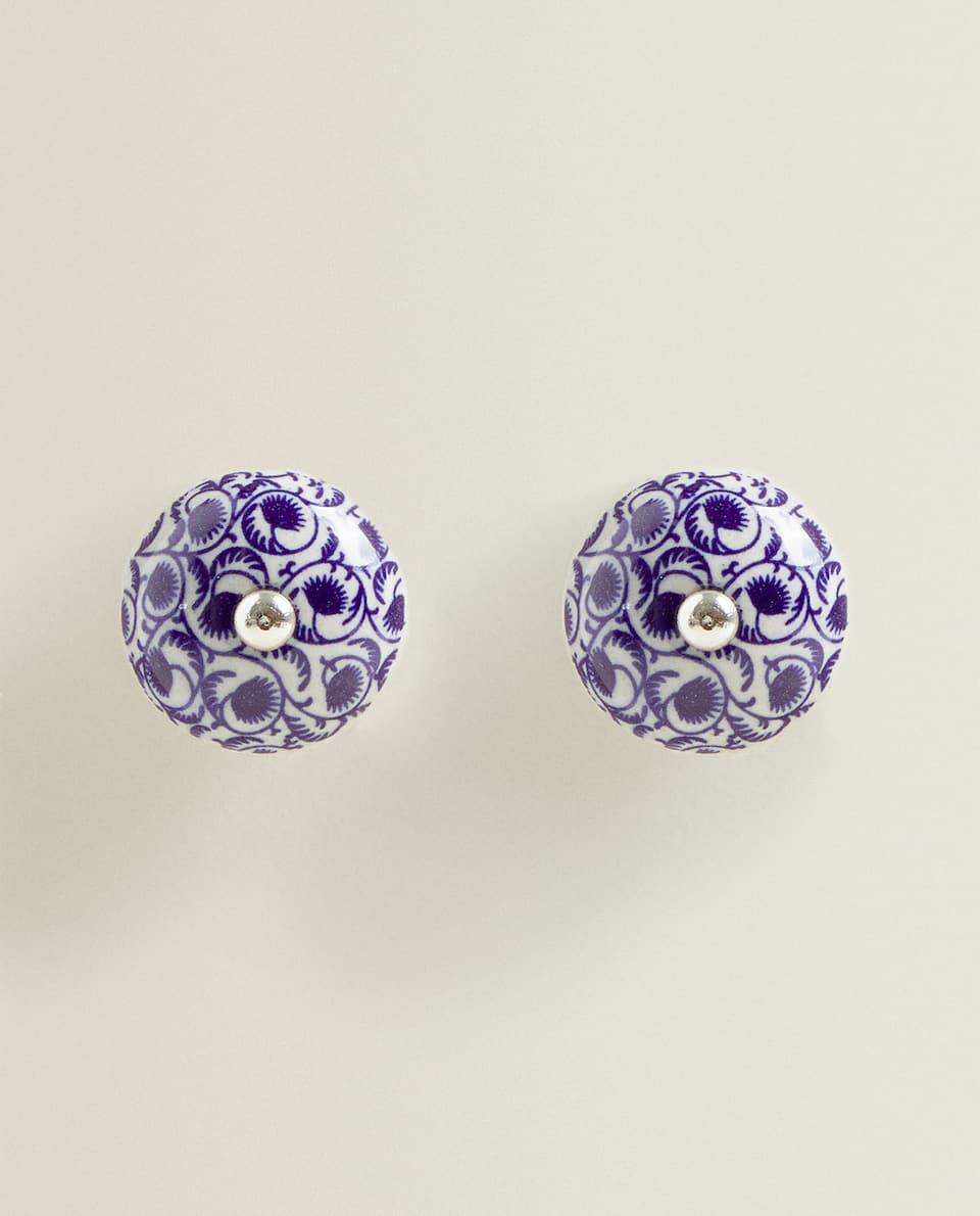 CERAMIC DOOR KNOB WITH PRINT (PACK OF 2)