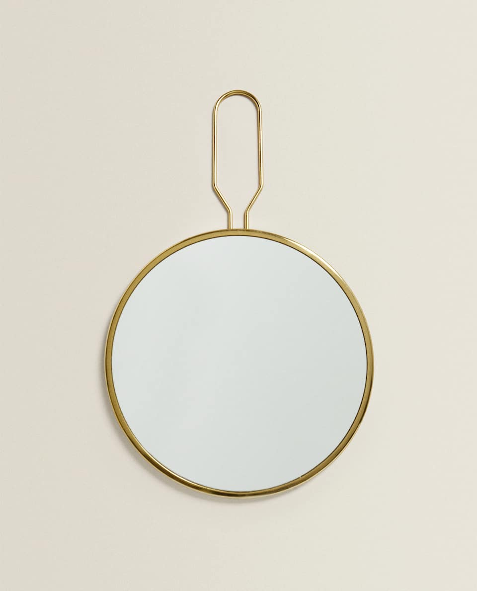MIRROR WITH GOLDEN HANDLE