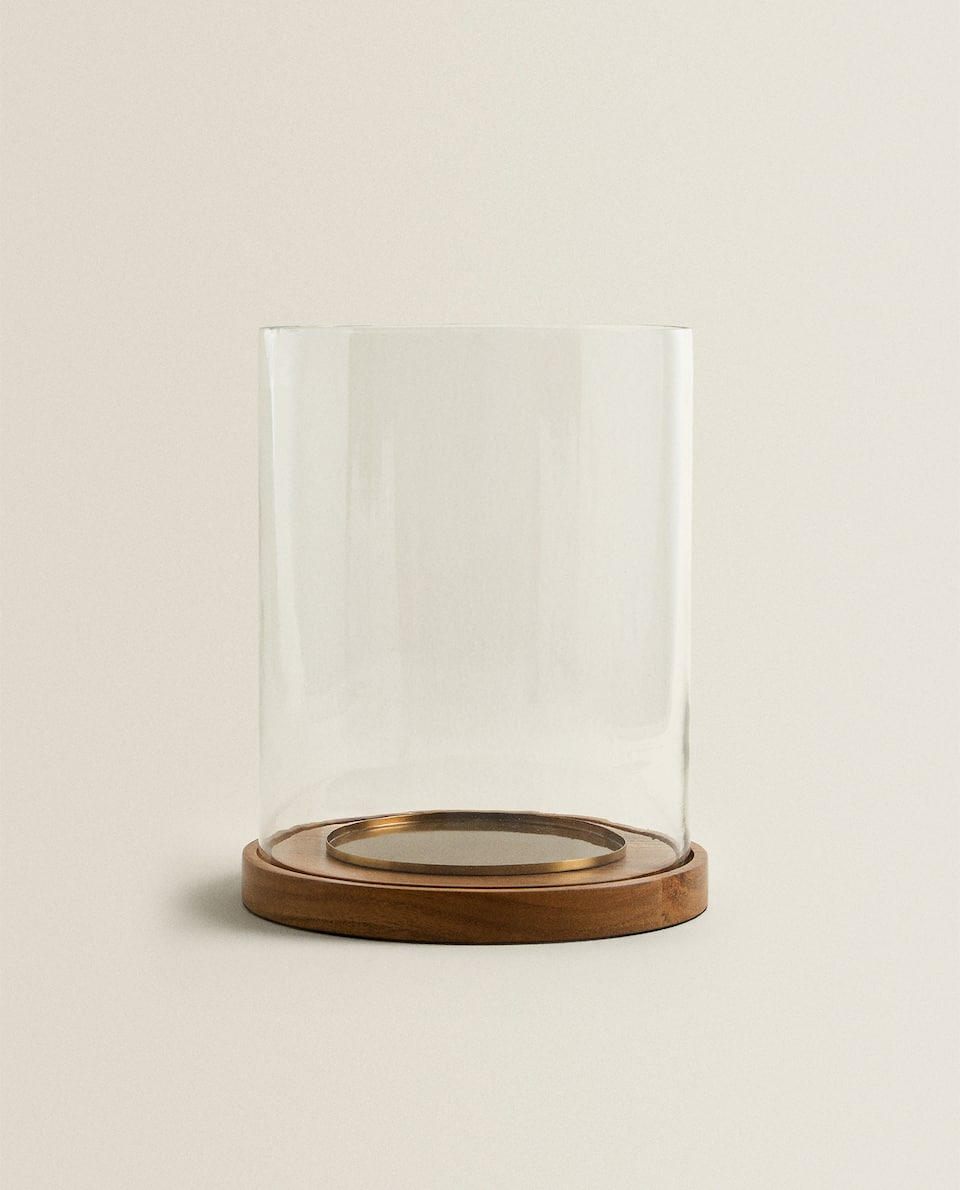 WOOD AND GLASS LANTERN