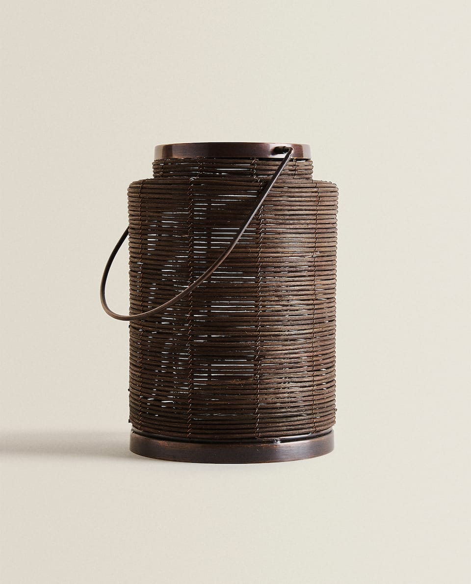 RATTAN AND GLASS LANTERN