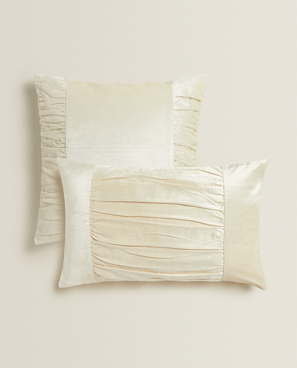 RUFFLED VELVET THROW PILLOW